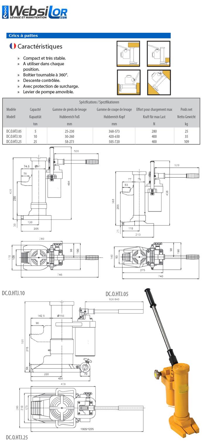 Informations techniques Cric hydraulique à pattes