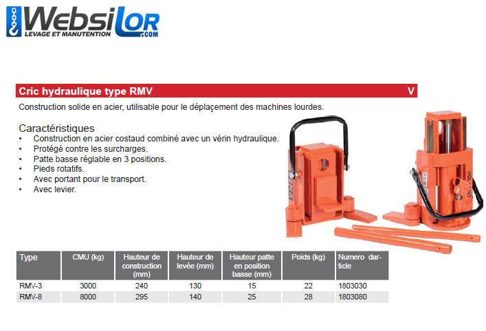 Informations techniques Chevalet hydraulique - 3 tonnes