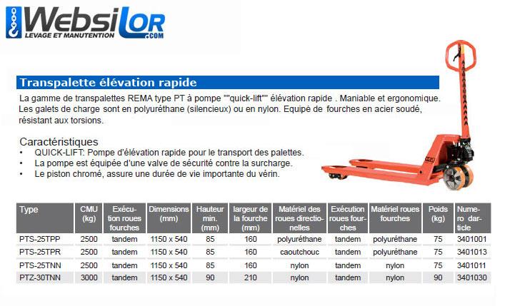 Informations techniques Transpalette manuel - très robuste - 2.5 tonnes