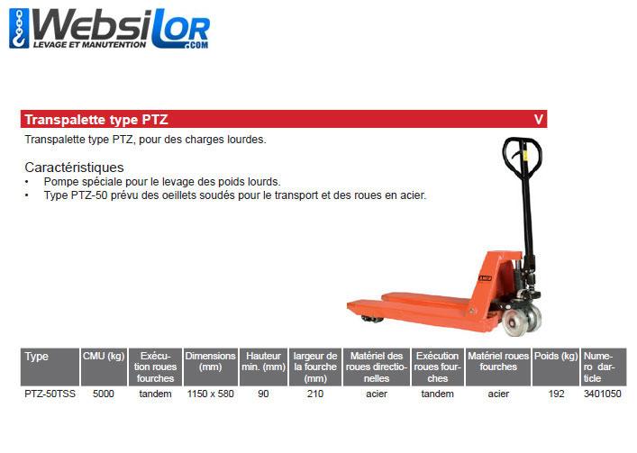 Informations techniques Transpalette Rema - 5 tonnes