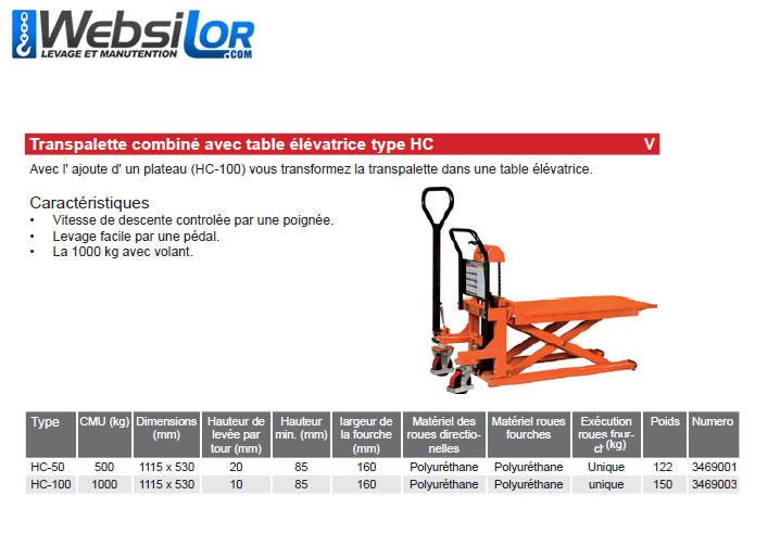 Informations techniques Transpalette/table elevatrice - 500kg