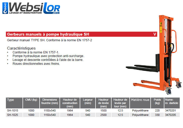 Informations techniques Gerbeur hydraulique - hauteur : 1500mm