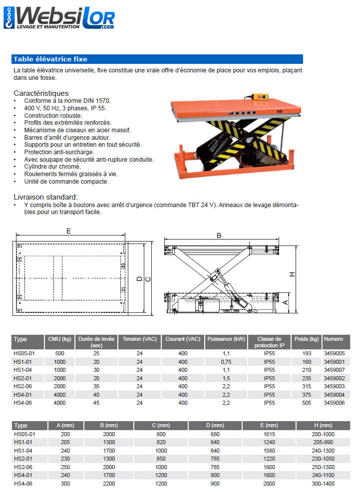 Informations techniques Table elevatrice fixe - 0,5 tonne