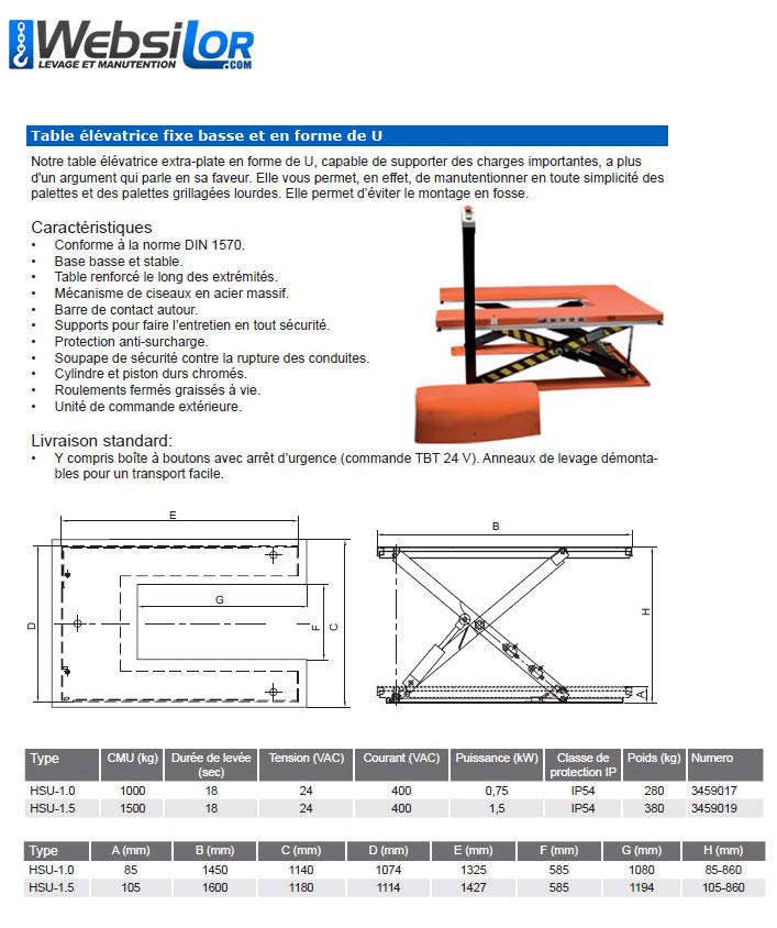 Informations techniques Table elevatrice fixe - 1 tonne