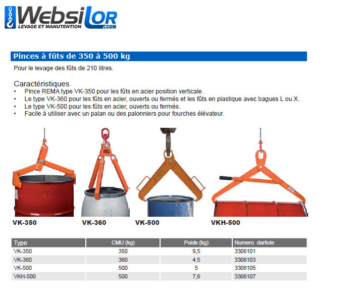 Informations techniques Pince pour fût horizontal - 500kg