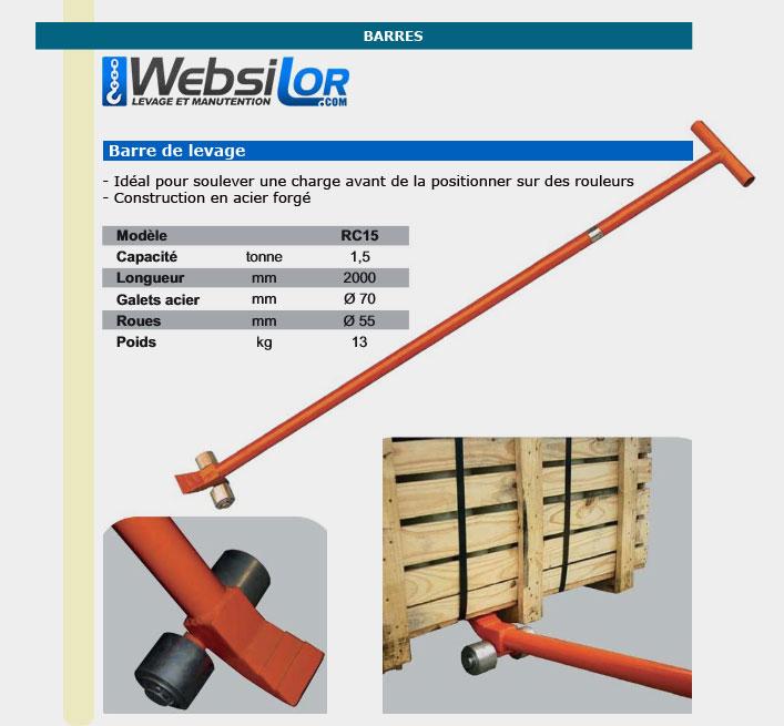 Informations techniques Barre de levage - 1500kg