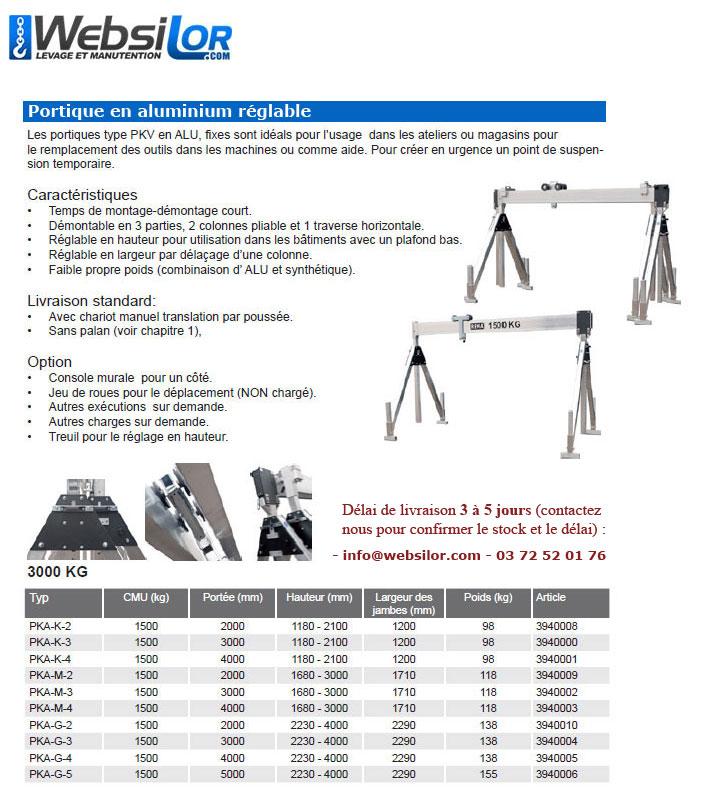 Informations techniques Portique fixe en aluminium - 1500kg
