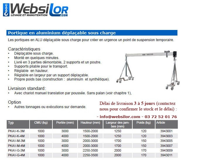 Informations techniques Portique mobile aluminium - 1000kg
