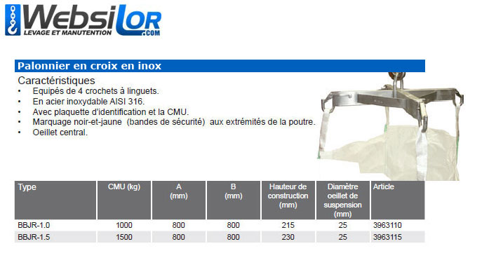 Informations techniques Palonnier big-bag en inox