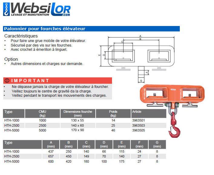 Informations techniques Palonnier pour chariot elevateur - 1000 à 5000kg