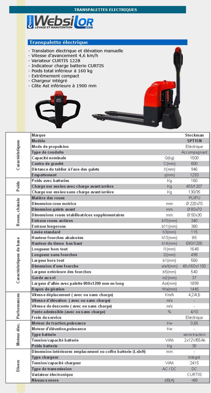 Informations technique de Transpalette semi-électrique - 1500kg