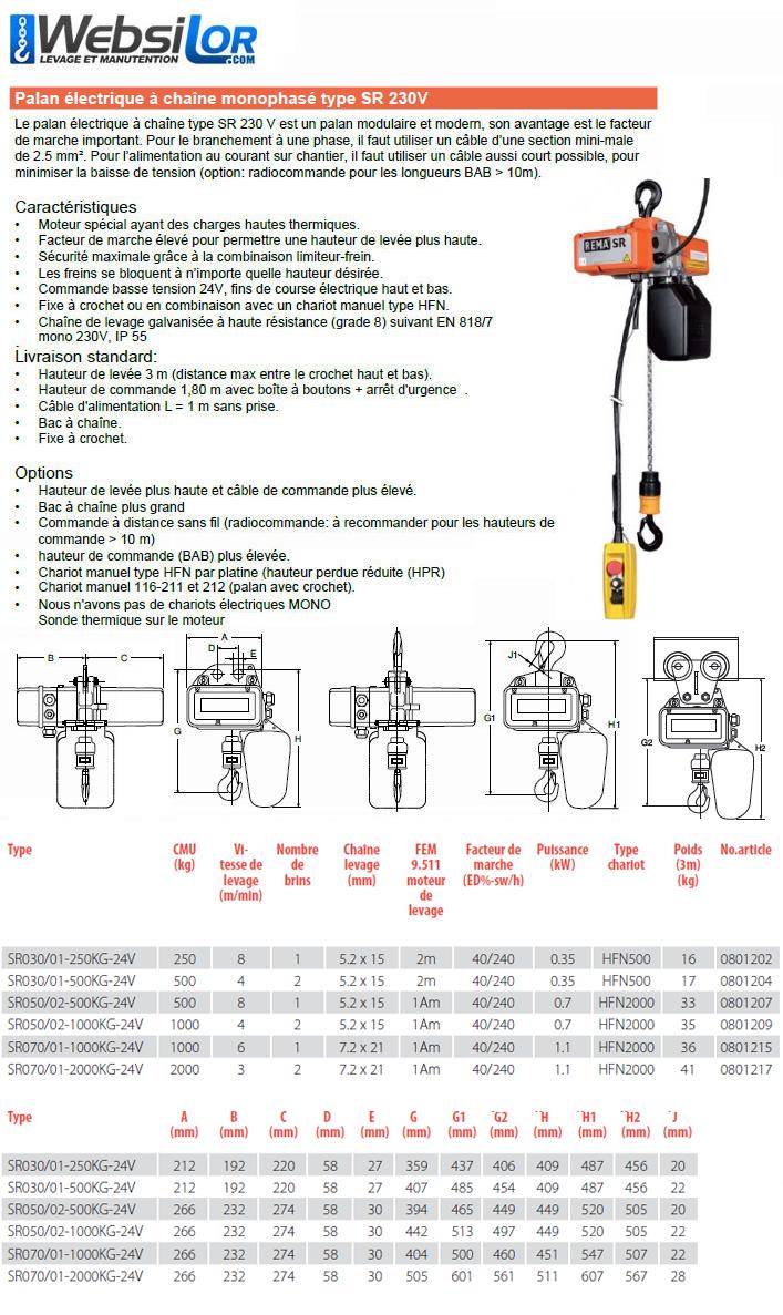 Informations techniques Palan électrique monophasé à usage industriel - 250 à 2000kg