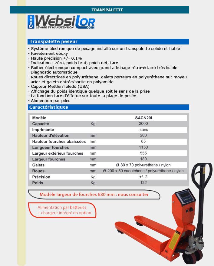 Informations techniques Transpalette pesage - 2000kg