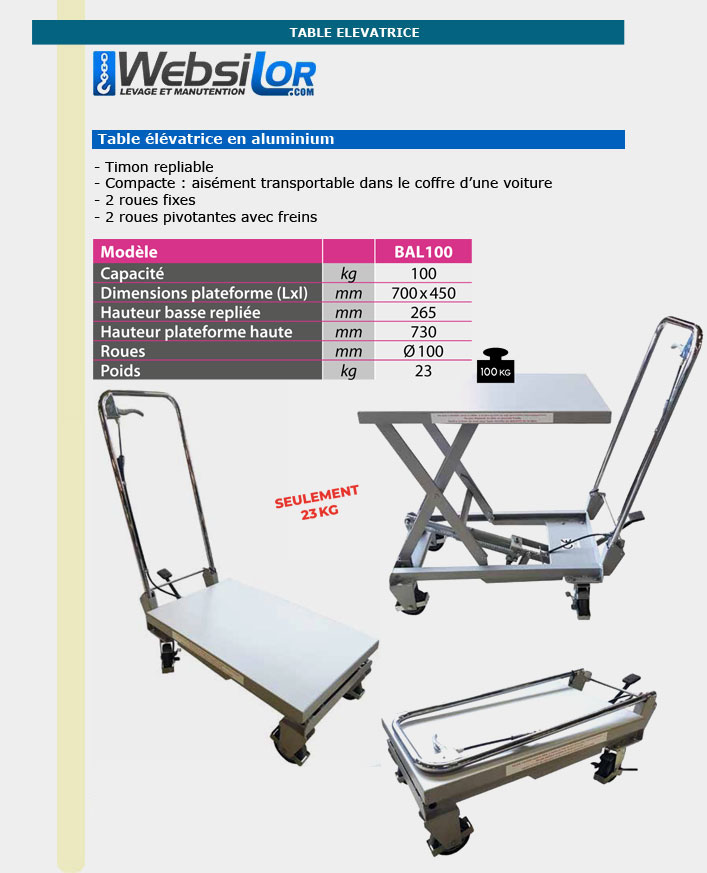 Informations techniques Table elevatrice aluminium
