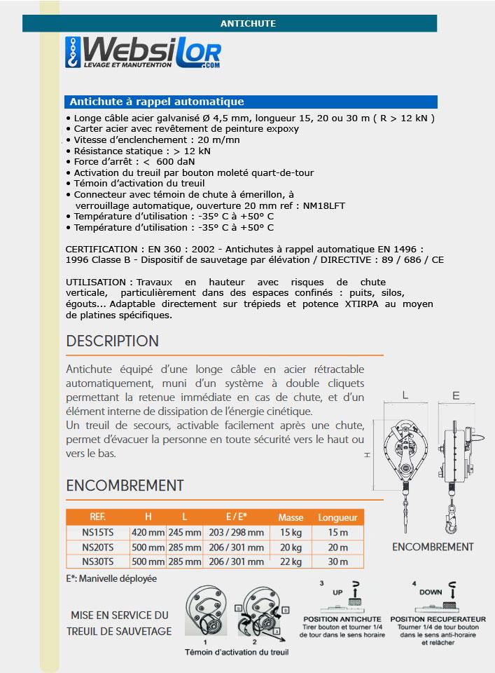 Informations techniques Antichute câble avec dispositif de sauvetage