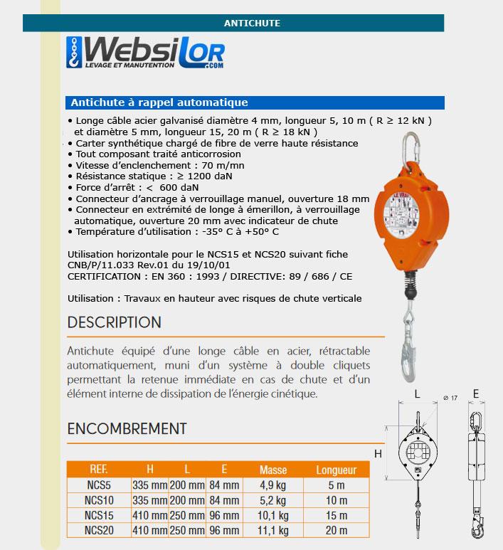 Informations techniques Antichute câble à rappel automatique
