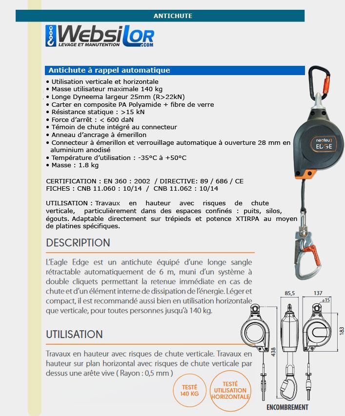 Informations techniques Antichute avec sangle en polyester 25 mm