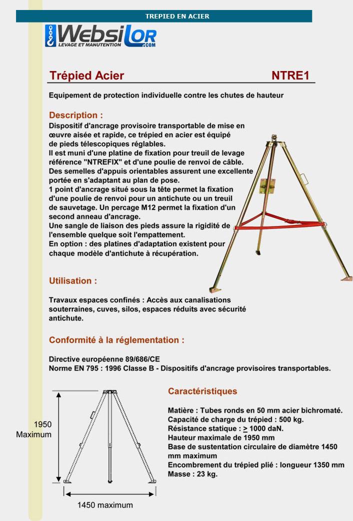 Informations techniques Trepied en acier