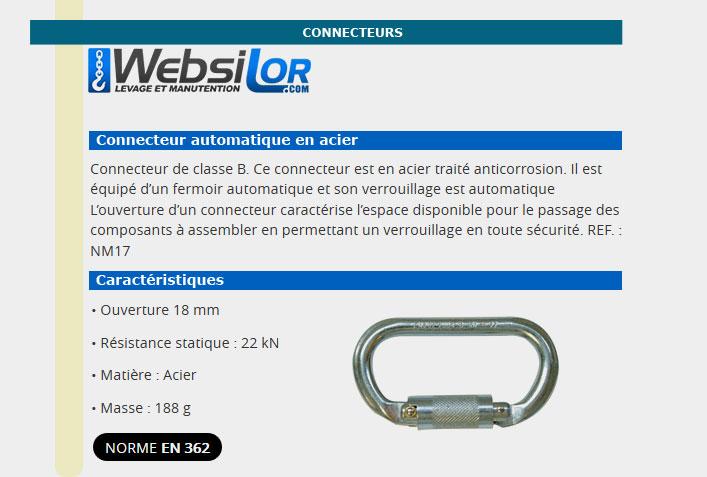 Informations technique de Connecteur en acier anti-corrosion