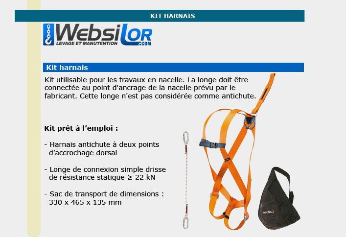 Informations techniques Kit harnais nacelle