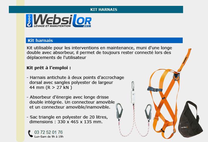 Informations techniques Kit harnais pour maintenance