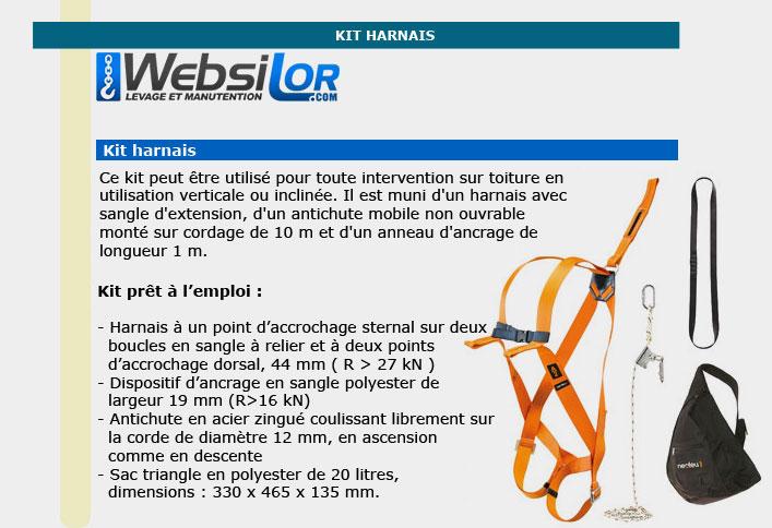 Informations techniques Kit harnais toiture