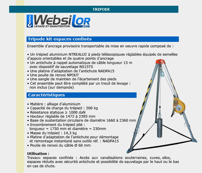 Informations techniques Kit tripode