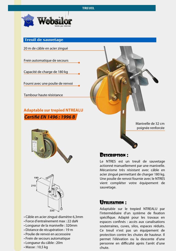 Informations techniques Treuil de sauvetage 20 m
