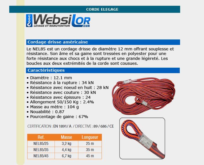 Informations techniques Corde élagage de 12mm