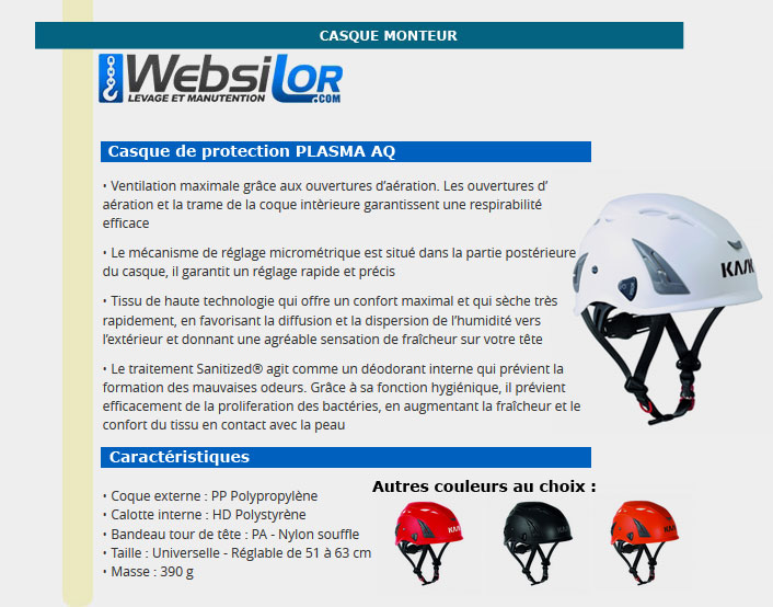 Informations techniques Casque de protection blanc, rouge, noir ou orange