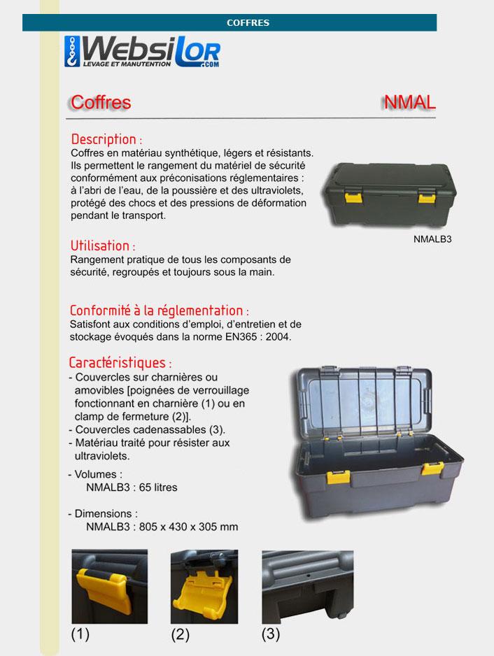 Informations techniques Coffre rangement de 65 litres