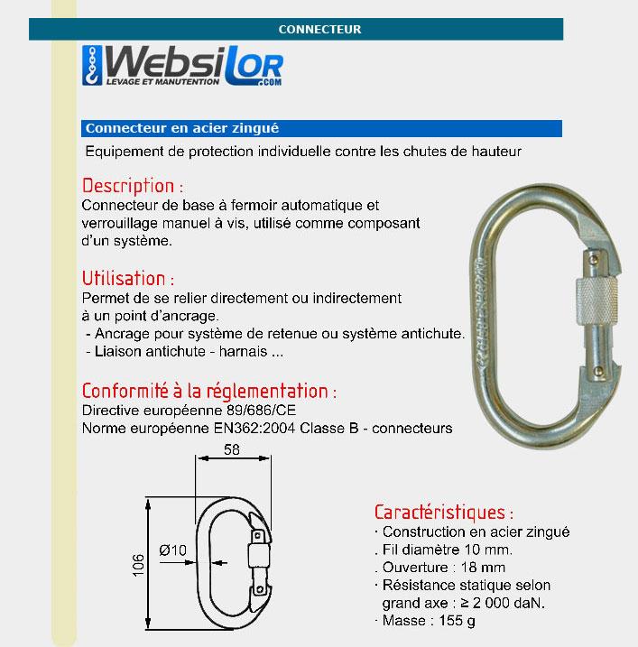 Informations techniques Connecteur à vis en acier