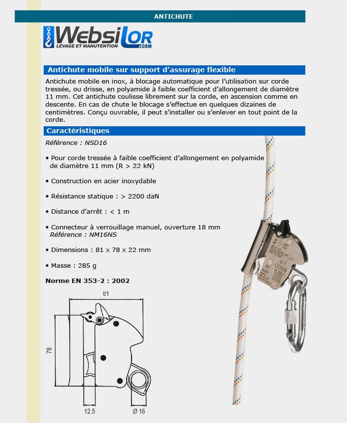 Informations technique de Antichute inox pour drisse