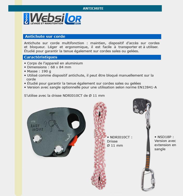 Informations techniques Antichute sur corde