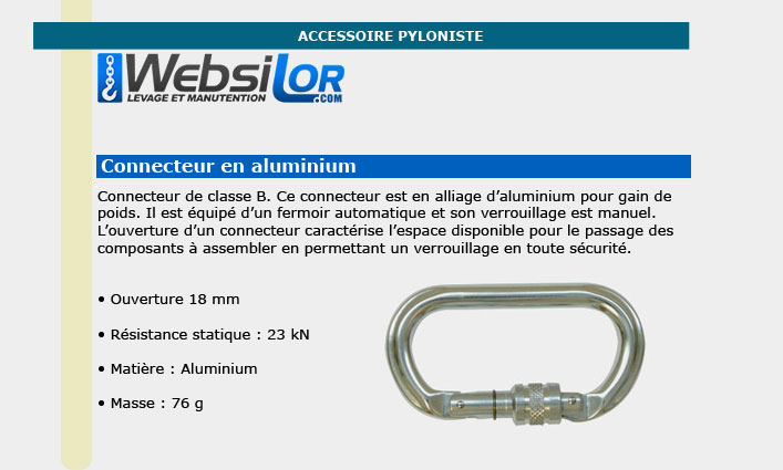 Informations technique de Connecteur à vis en aluminium