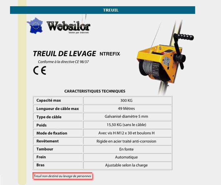 Informations techniques Treuil de levage - 10 à 40 mètres