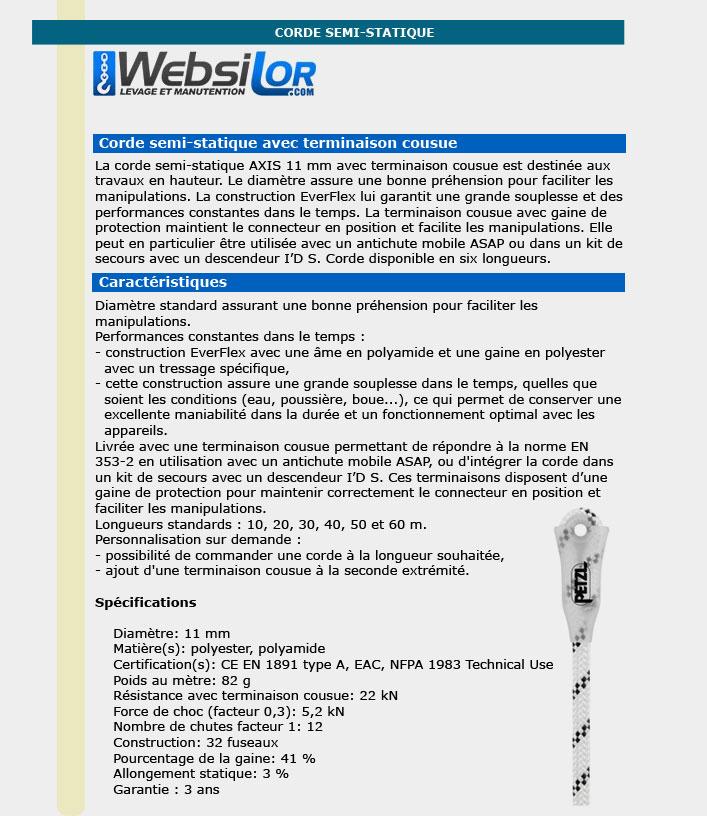 Informations techniques Corde blanche et noire semi statique
