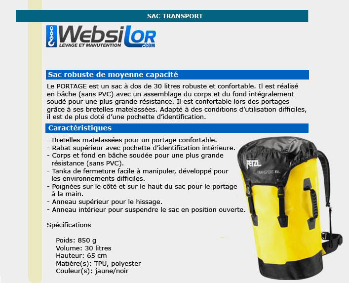 Informations techniques Sac transport jaune 30L