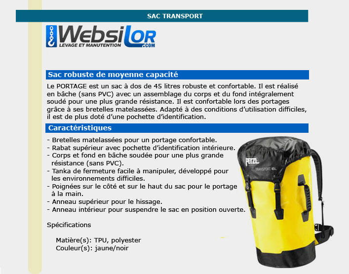 Informations techniques Sac transport jaune 45L