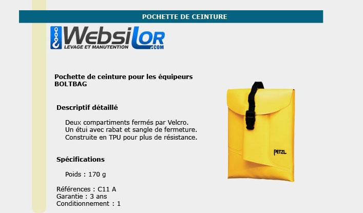 Informations techniques Pochette de ceinture