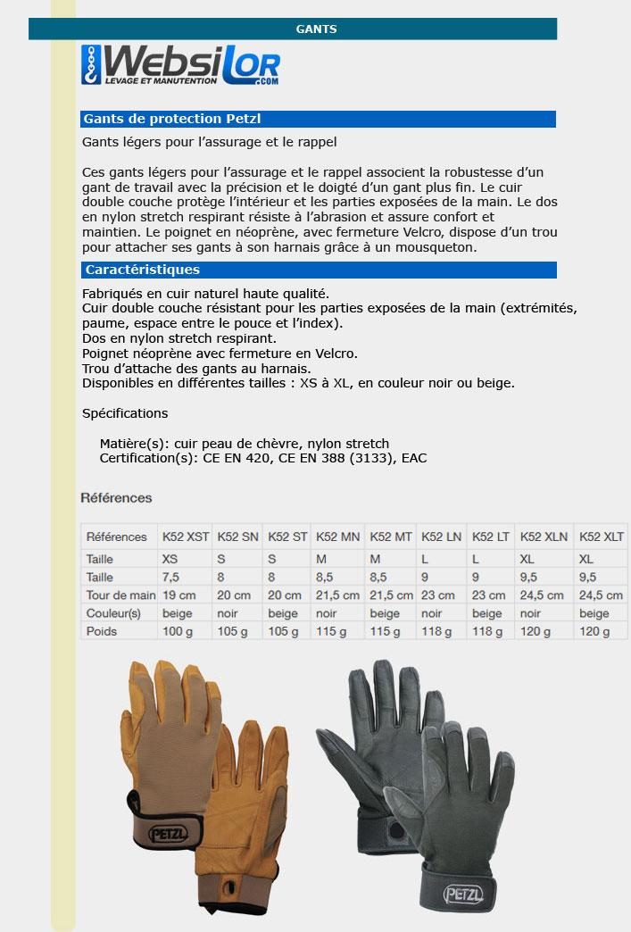 Informations techniques Gants cordex noir - taille S à XL