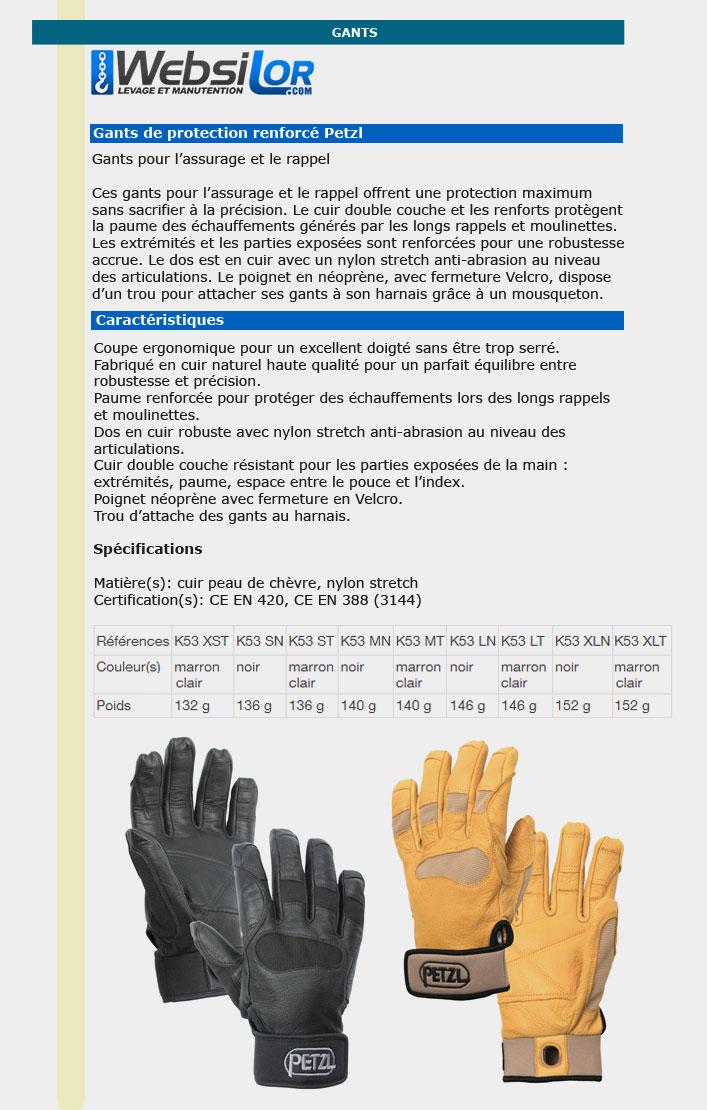 Informations techniques Gants renforcés cordex noir - taille S à XL