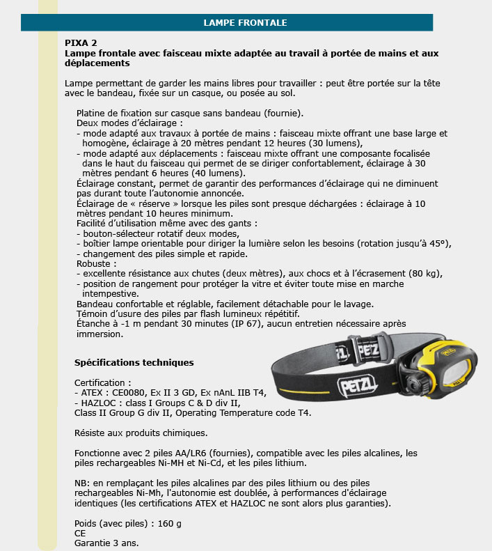 Informations techniques Lampes frontales compactes 80 lumens