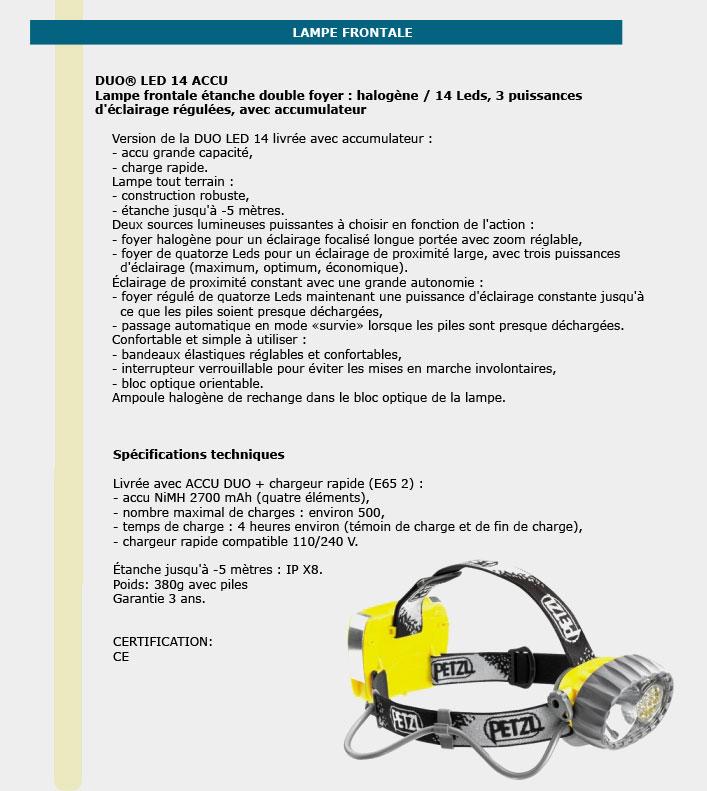 Informations techniques Lampes frontales tout terrain avec accumulateur