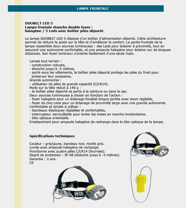 Informations technique de Lampes frontales étanches double foyer