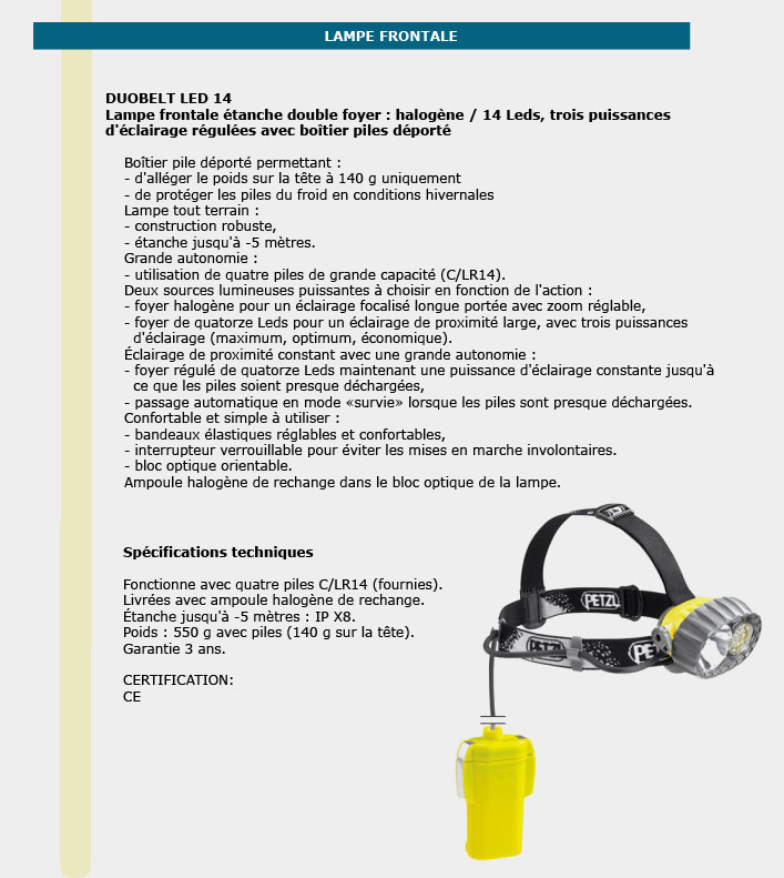 Informations techniques Lampes frontales étanches double foyer 14 leds