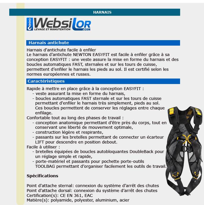 Informations technique de Harnais antichute newton fast jack