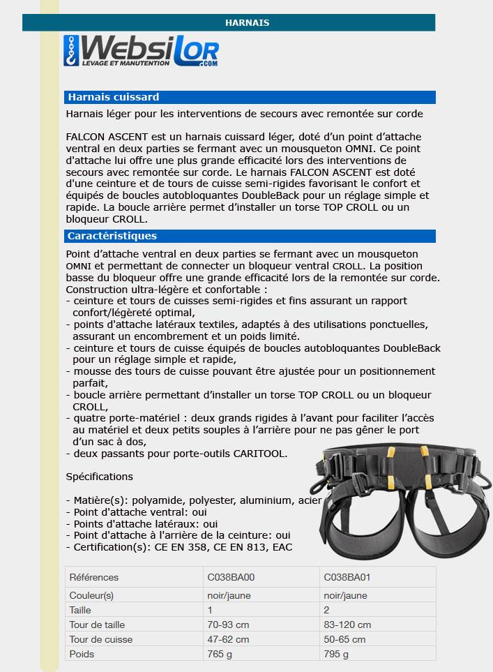 Informations techniques Harnais de secours FALCON ASCENT taille 1