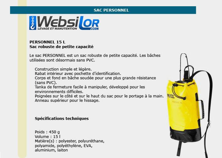 Informations techniques Sac de transport - 15 litres