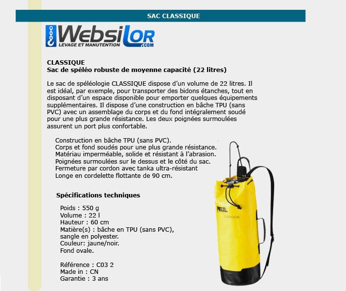Informations techniques Sac Petzl classique de 22 litres